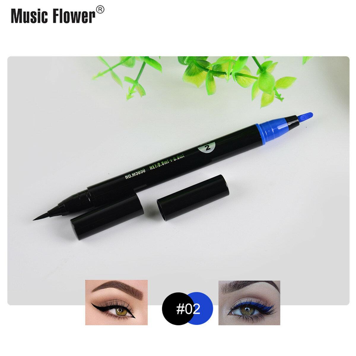 Crayon eyeliner liquide fleur de fleur Tampons noirs à double tête super imperméables - 5