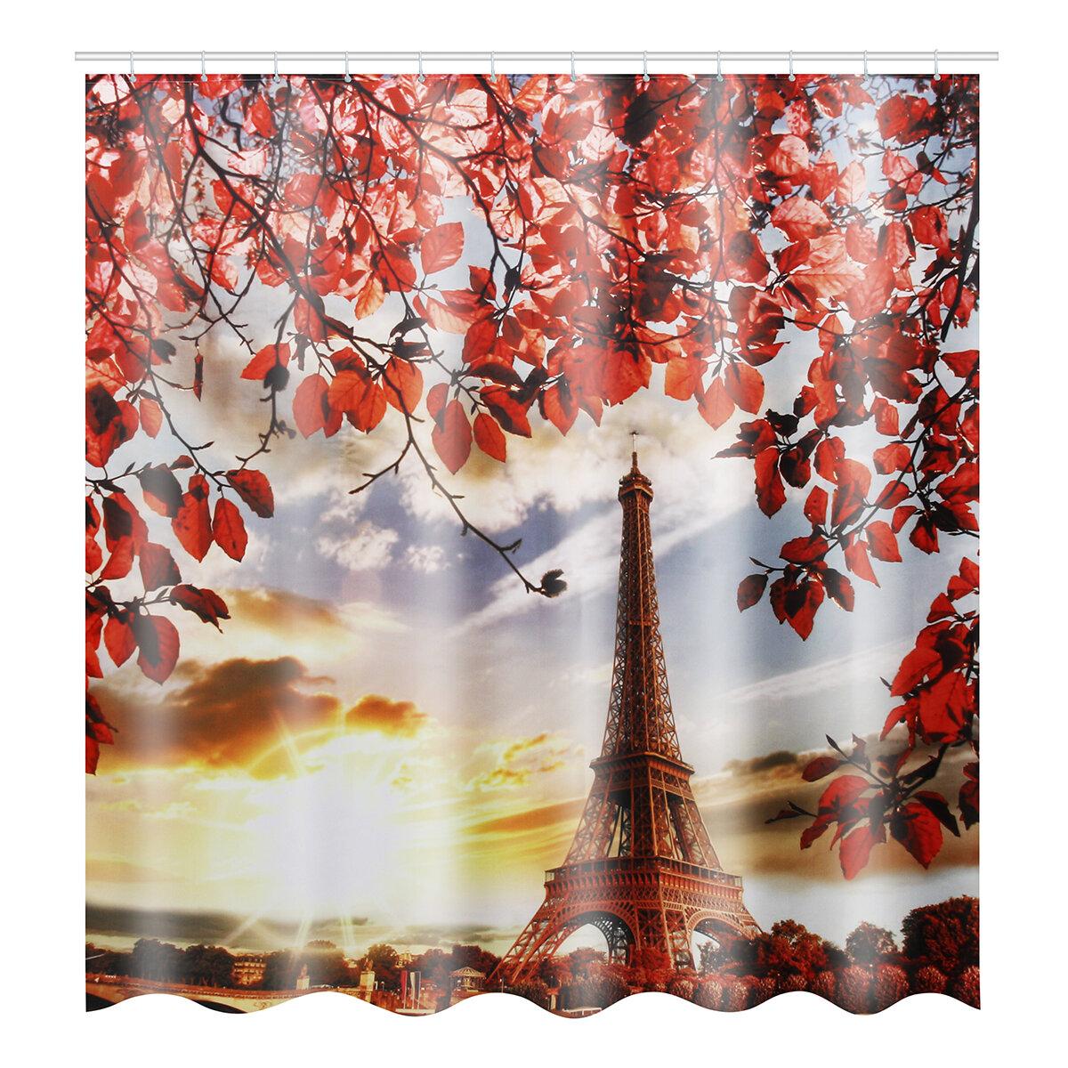 3D Tree and Eiffel Tower Dusk Impreso Cuarto de baño Impermeable Cortina de ducha Alfombras de baño antideslizantes Alfombras Alfombras de pedestal Cubierta del asiento del inodoro - 8