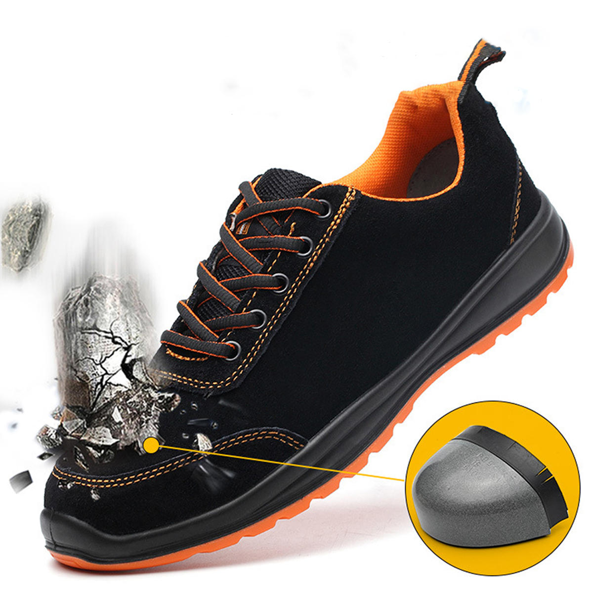 AtreGo Mens Suede Leather Work Shoes Steel Toe Anti-puncture Climbing Safety Shoes - 1