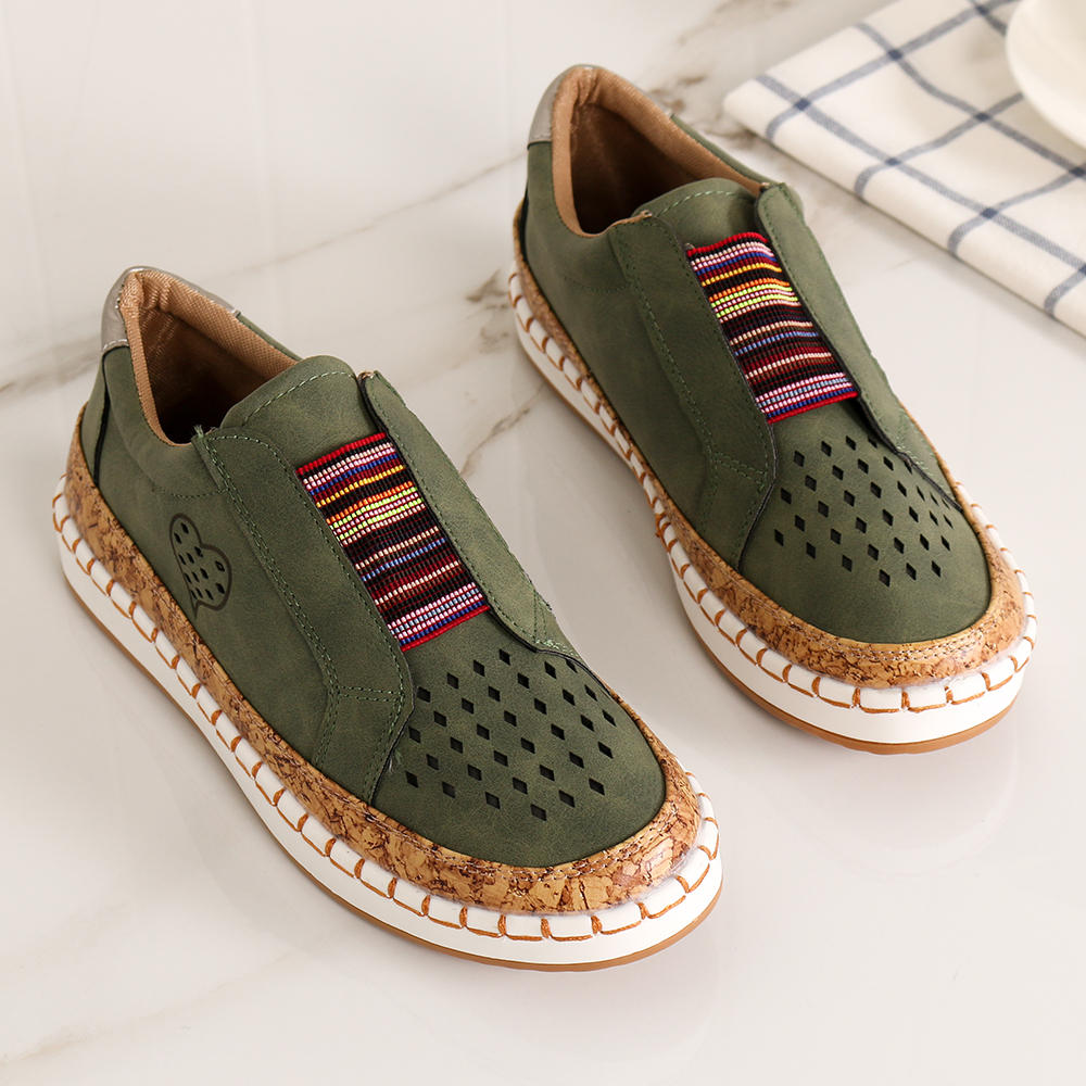 Women Genuine Leather Breathable Plus Size Casual Flats - 8