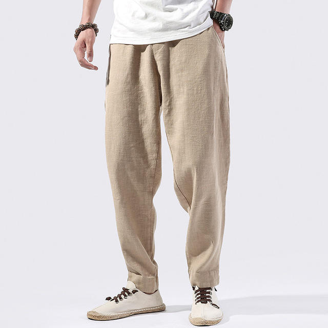 Men's Youth Solid Color Retro Cotton And Linen Harem Pants Men's Clothing