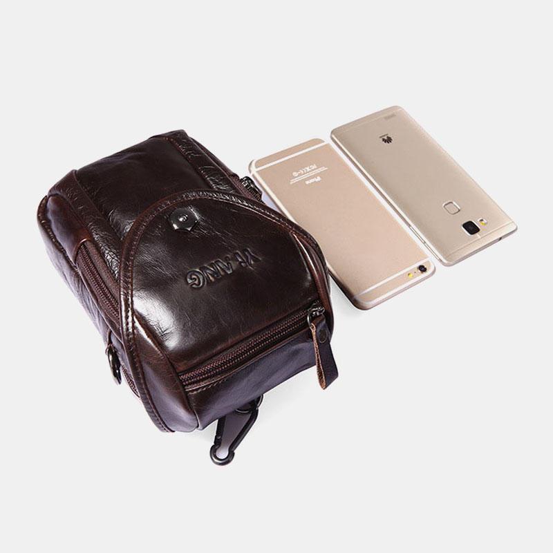 Genuine Leather 5.5-7″ Cell Phone Bag Waist Bag Crossbody Bag For Men - 8