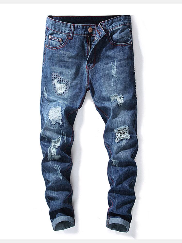 Mens Letter Printed Suspender Jeans - 1