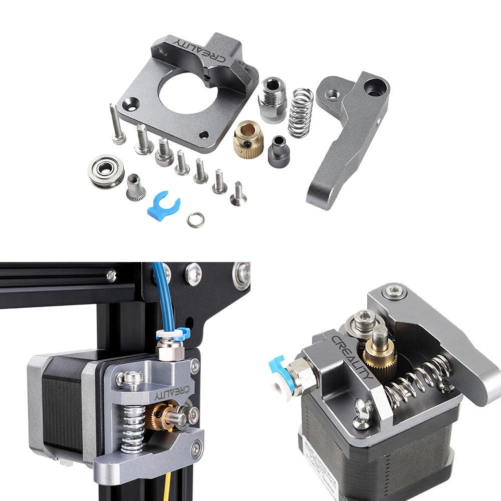 Kit d'extrudeuse en métal argenté en aluminium pour Creality 3D Ender 3/3 Pro/5/CR-10 / 10S 1.75mm Filament