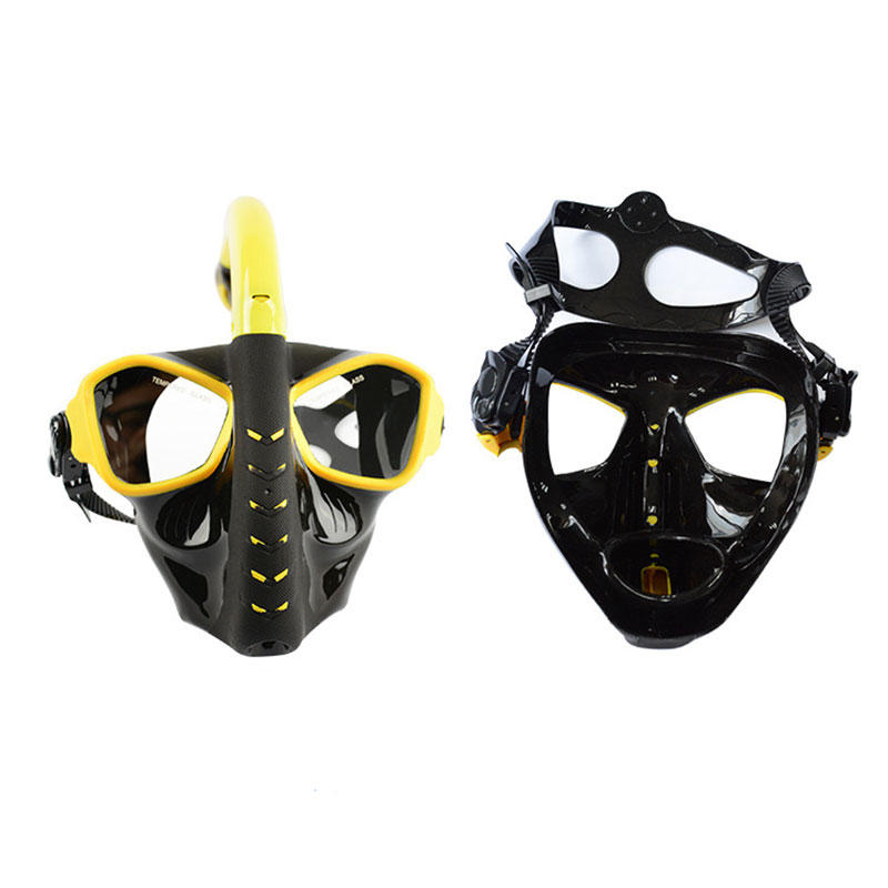 Adults Full Face Dry Snorkeling Mask Toughened Glass Shatterproof Anti fog Diving Mask - 2