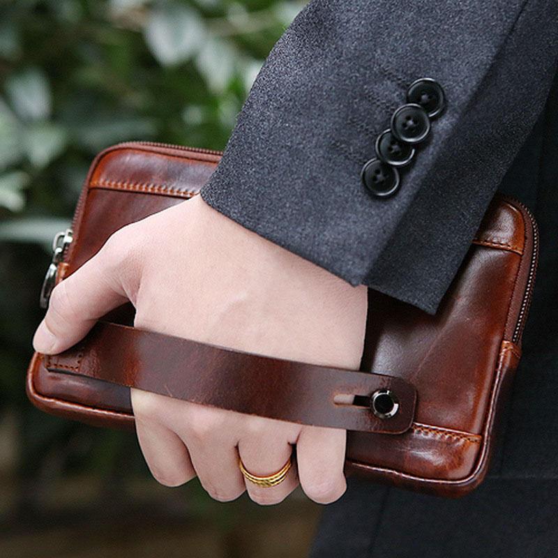 Men Clutch Wallet Waterproof Business Long Zipper Wallet Phone Holder - 10
