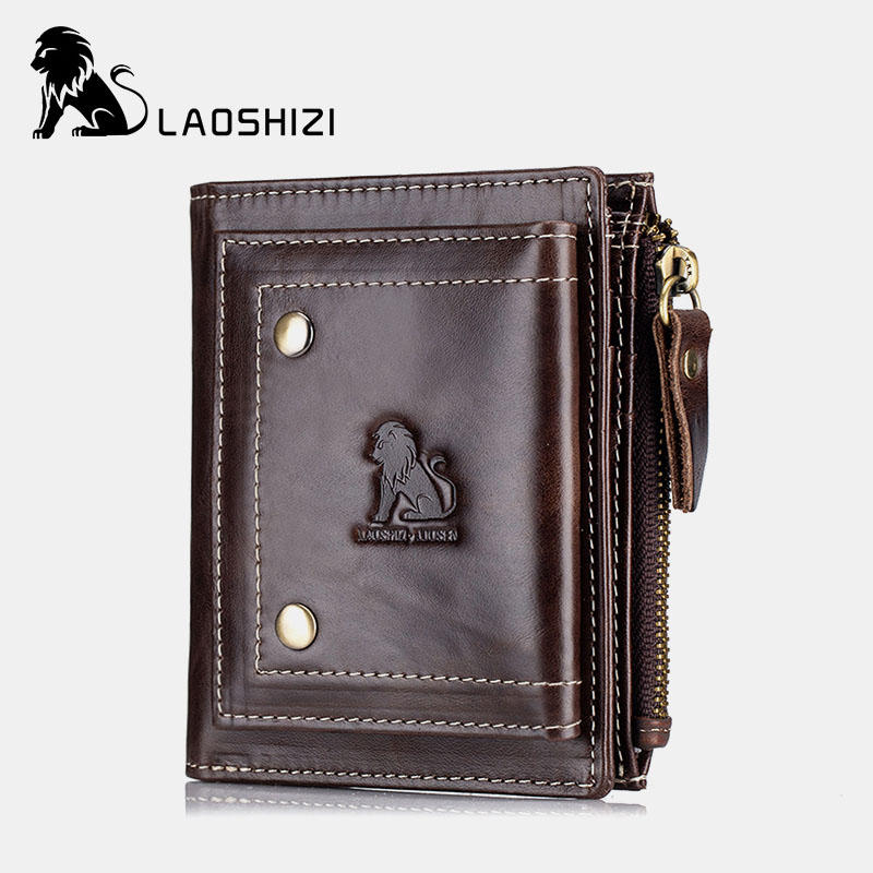 Men Genuine Leather RFID Blocking Wallet Zipper Coin Bag Card Holder