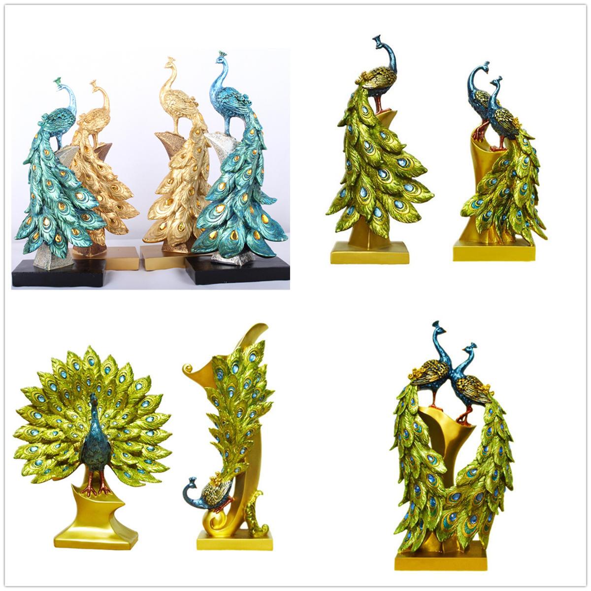 Exotische hars pauw Ornament beeldje standbeeld Craft bruiloft Home Decorations Gift - 2