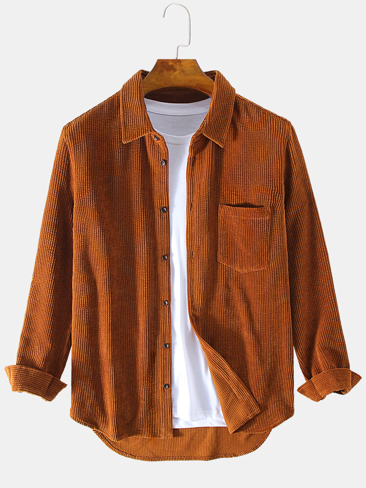 Mens Ethnic Style 100% Cotton Practical Pocket Long Sleeve Casual Shirts - 1