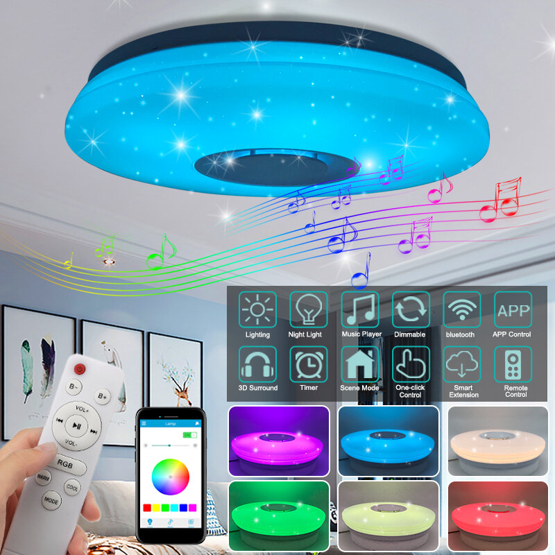 60W Modern Dimmable LED RGBW Bluetooth Music Ceiling Light APP Remote Control - 1