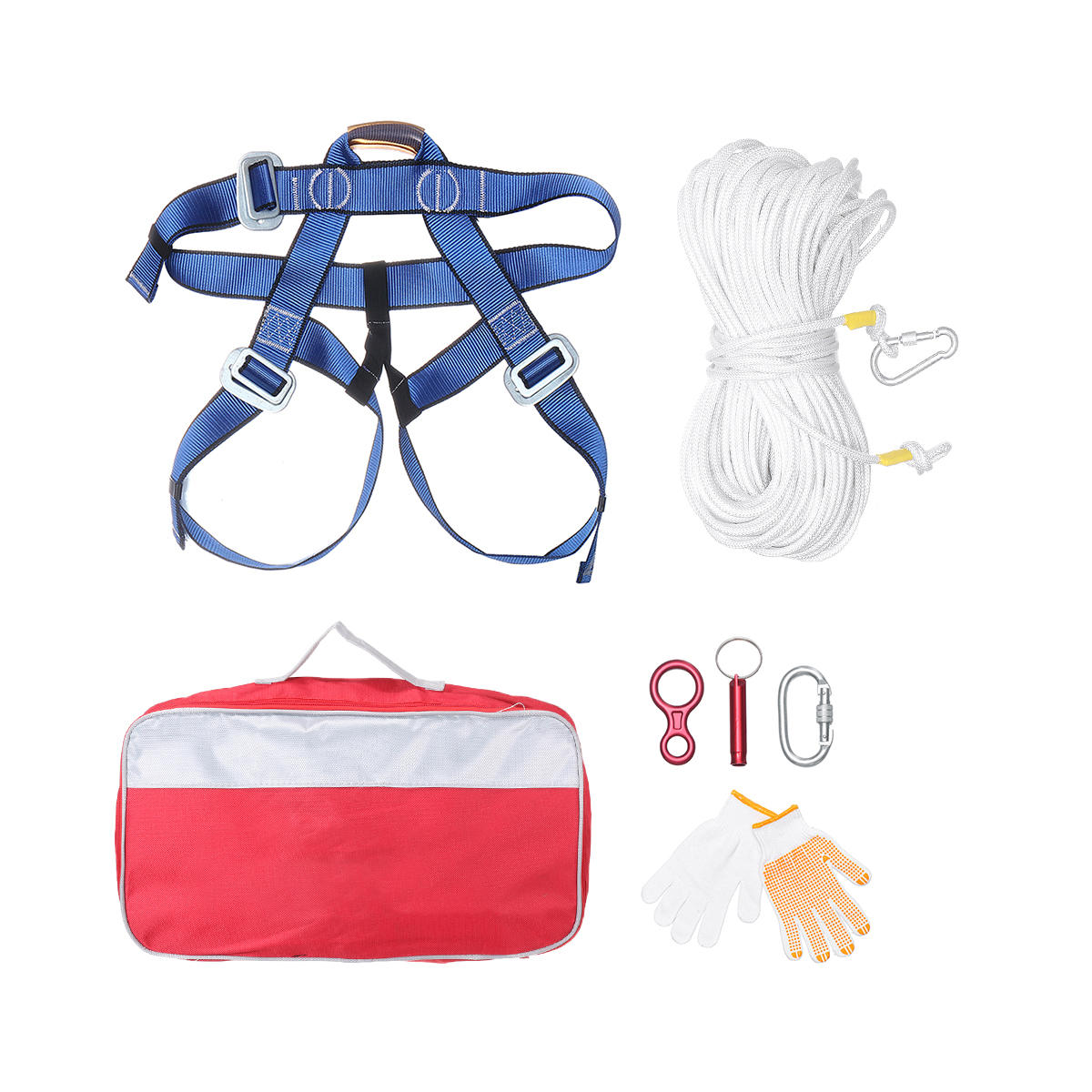 Adjustable Pro Body Safety Belt Harness Seat Climbing Protector 10M/30M/60M Rappelling Rope with Glove