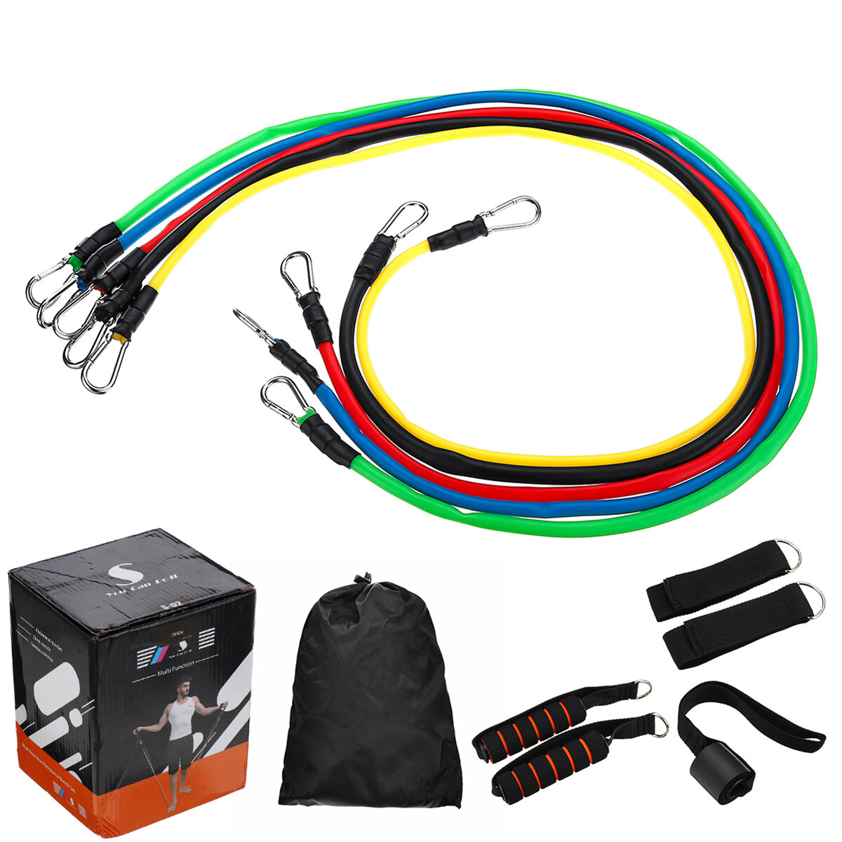 Specifications:Item: Fitness Resistance BandsColor: Yellow, Green, Red, Blue, BlackSuitable For: Sports Fitness, Yoga, Gym, etcPackage Including:11pcs / set x Fitness Resistance Bands ( As Below Picture Shows )
