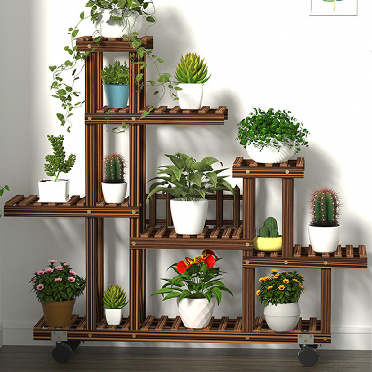 Multi-Tier Wooden Plant Flower Stand Plants Shelf Bookshelf Standing Flower Potted Windmill Plant Holder Display Outdoor