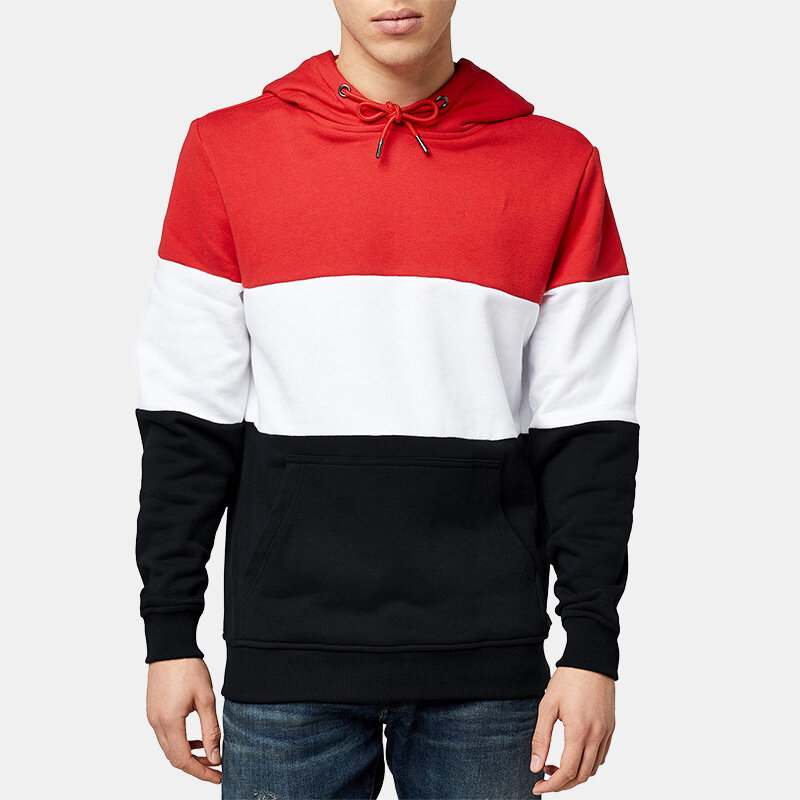 Mens Fashion Patchwork Long Sleeve Hooded Casual Sweatshirt - 5