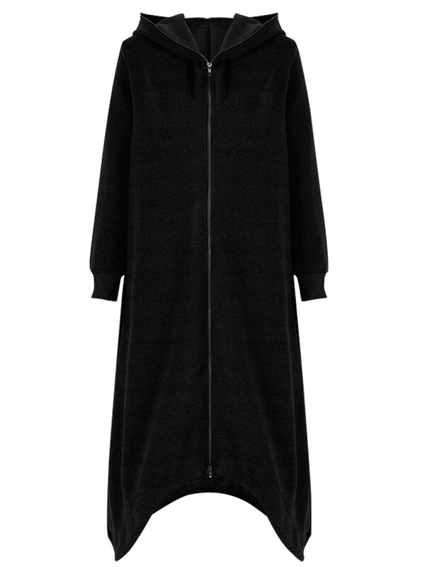 M-5XL Solid Color Hooded Coat - 8