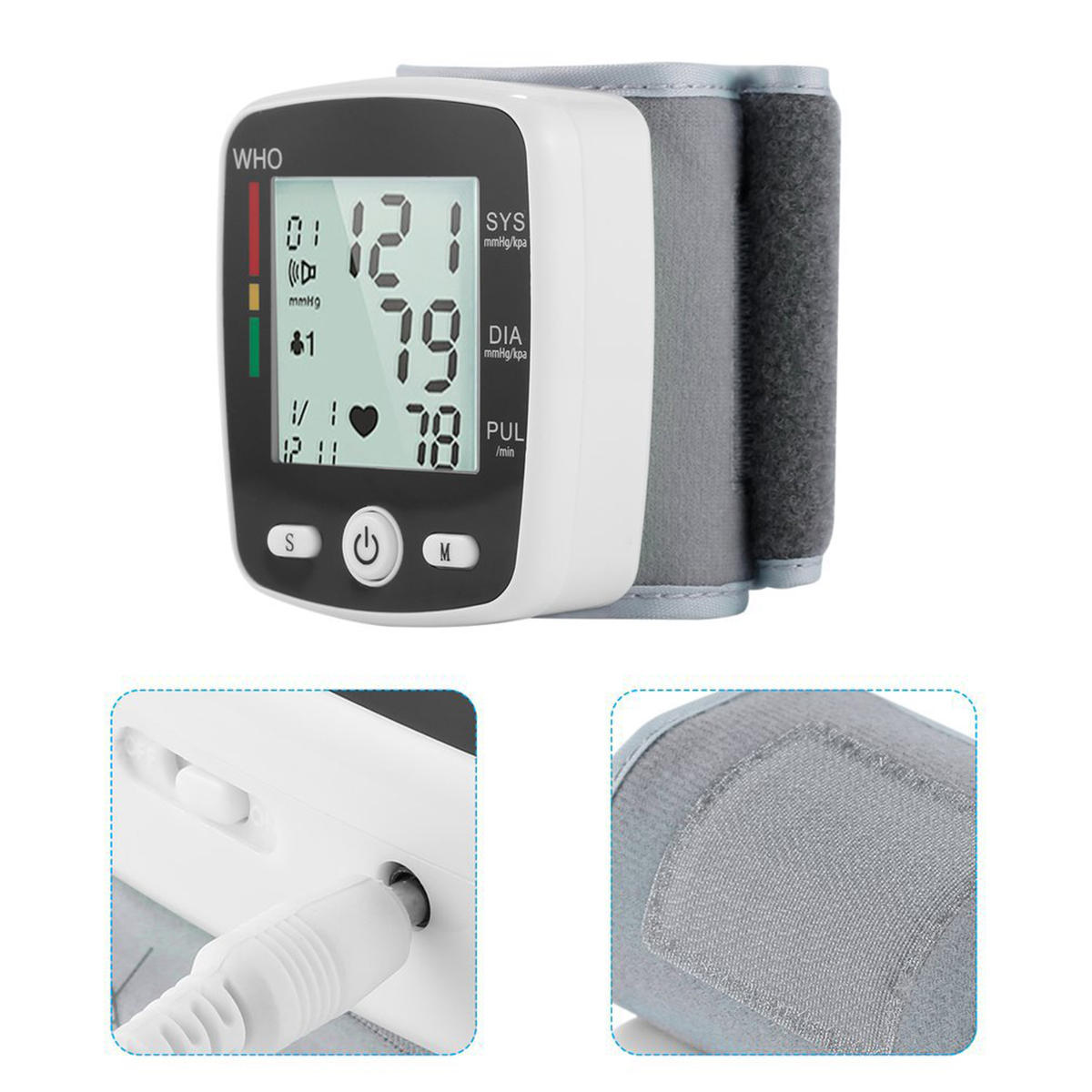 LCD Digital Wrist Blood Pressure Monitor Heart Rate Pulse Meter USB Rechargeable Health Care