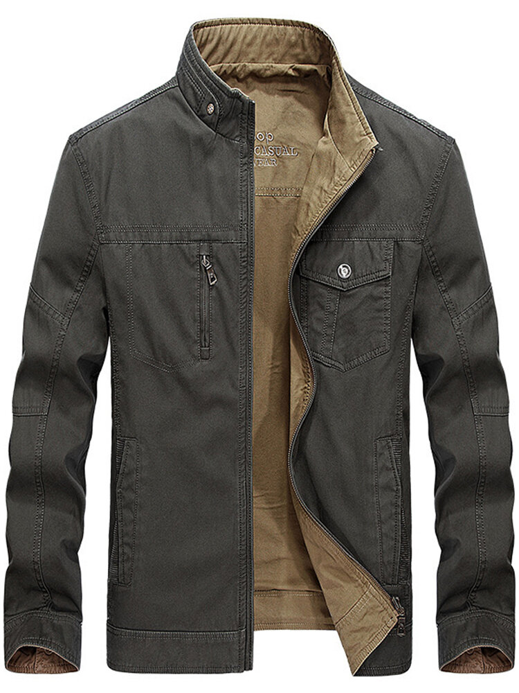 Reversible Double Sided Wearable Autumn Cotton Pockets Outdoor Jacket for Men