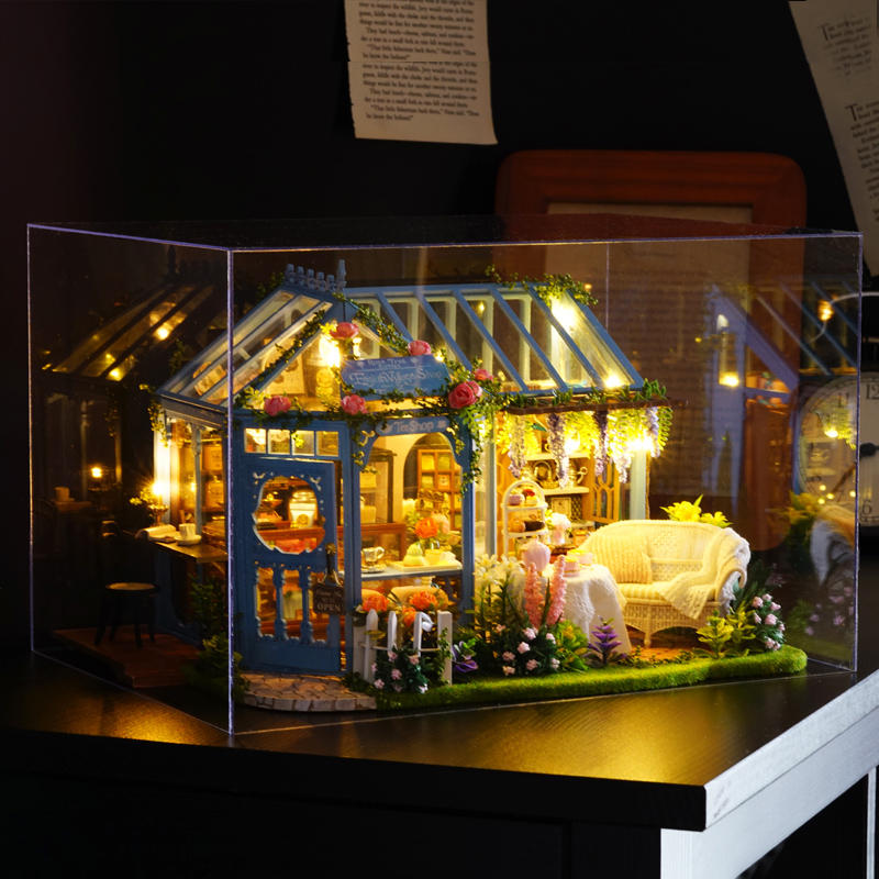 CuteRoom L-023 Blue Time DIY House With Furniture Music Light Cover Miniature Model Gift Decor - 6