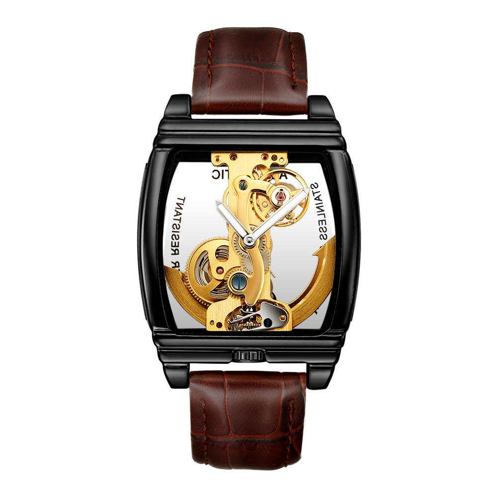 WINNER Fashion Shining Roman Numerals Mechanical Watch Luxury Golden Men Automatic Watch - 7