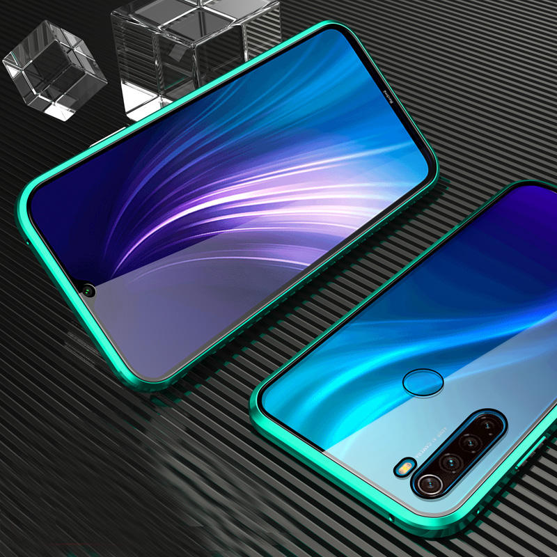 Bakeey Xiaomi Redmi Note 8 360º Curved Screen Front+Back Double-sided Full Body 9H Tempered Glass Metal Magnetic Adsorption Flip Protective Case