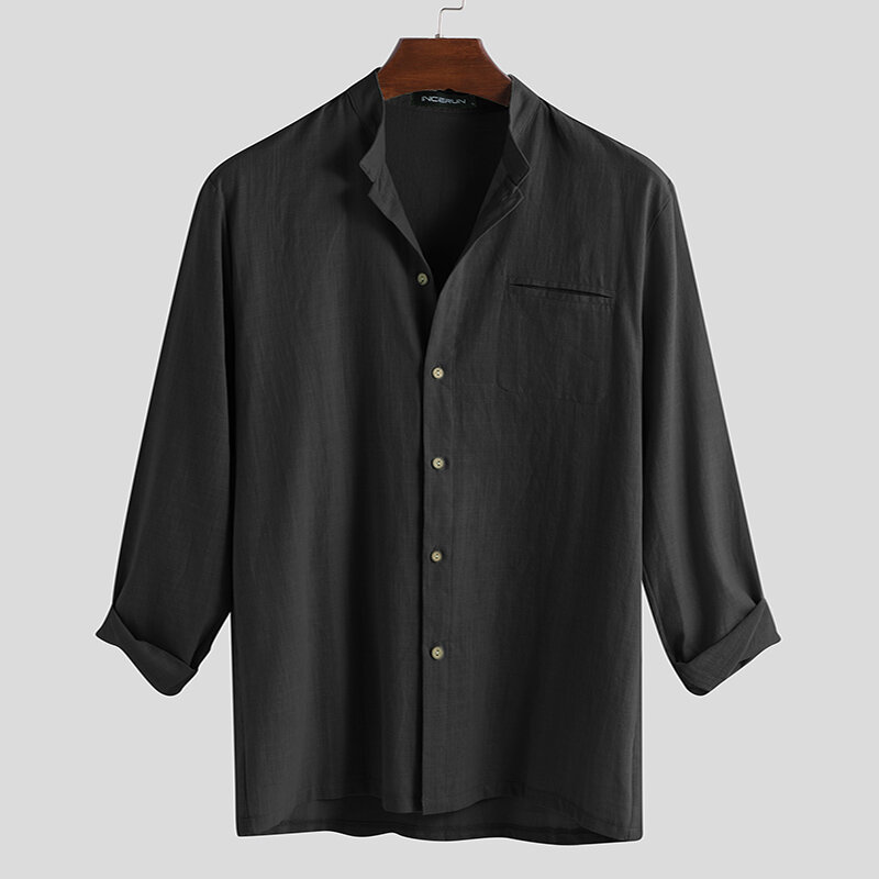 Mens Fashion 100% Cotton Pocket Solid Color Casual Shirts - 2