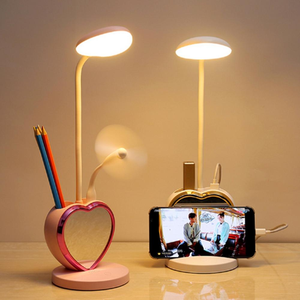 Multifunctional USB Rechargeable Touch Dimmable LED Table Lamp Pen Holder Mobile Phone Stand Magnet Mirror