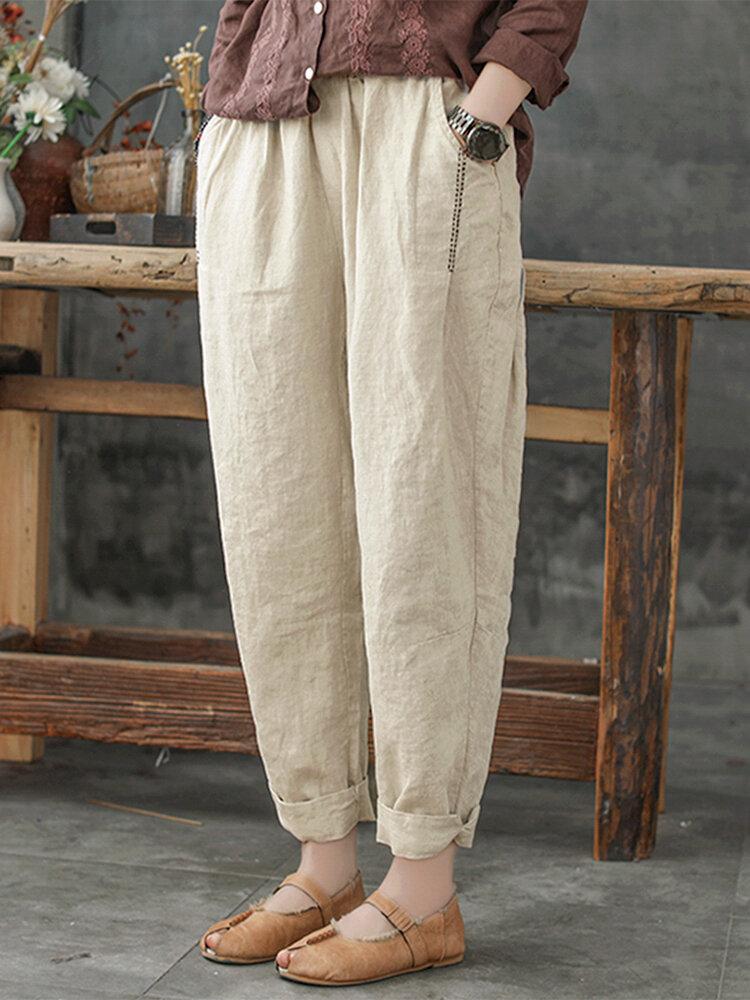 Düz Renk Gevşek Plus Beden Harem Pantolon Cepli