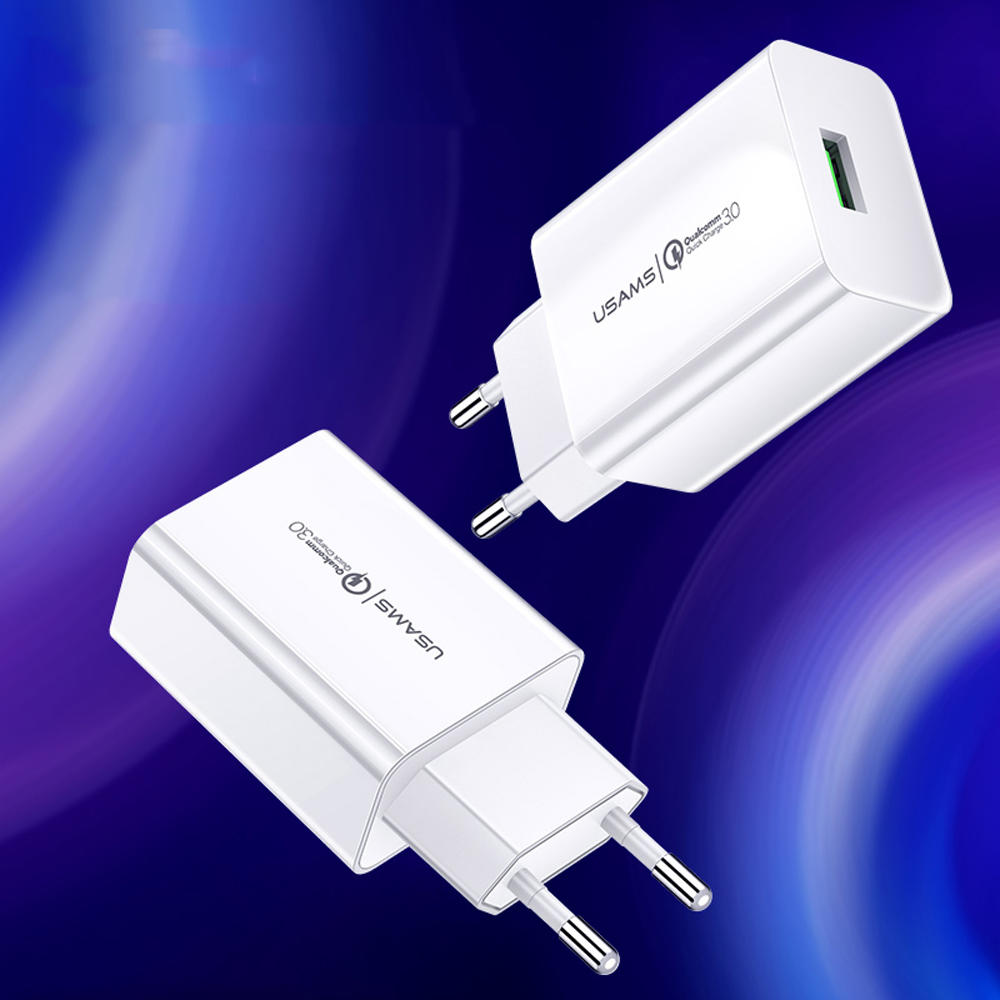 USAMS 18W Charge rapide 3.0 Chargeur USB Chargeur rapide pour iPhone XS XR 11 Pro Huawei P30 Pro Mate 30 Xiaomi Mi9 9Pro S10 + Note 10