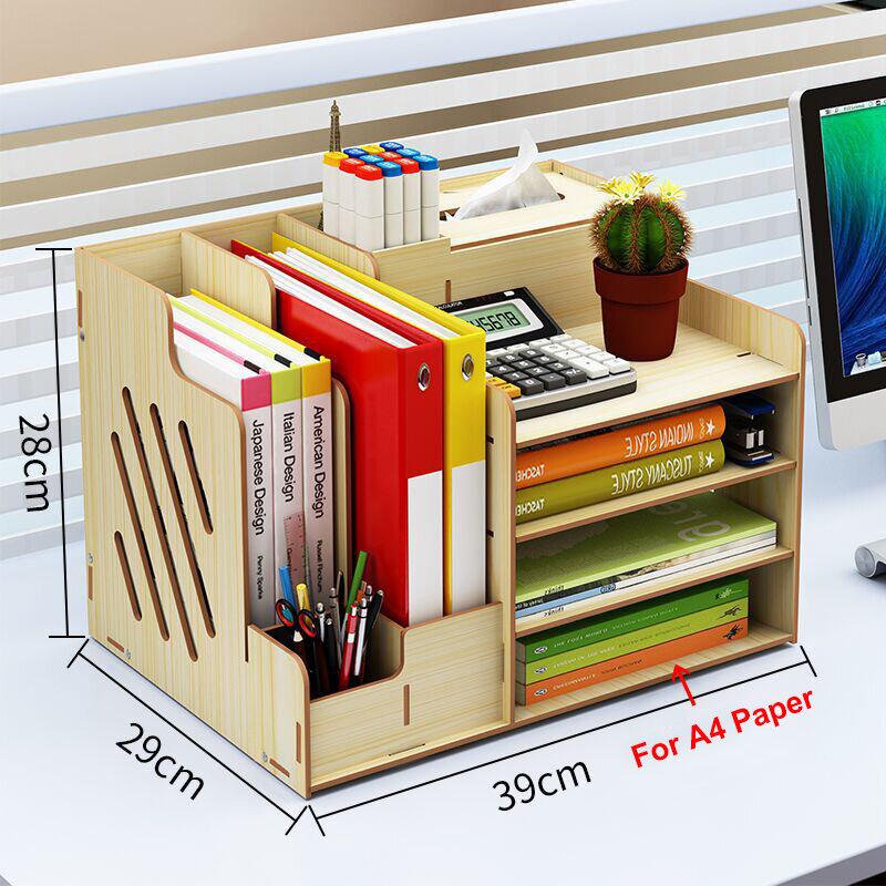 3-layer 4-drawer Wood Leather Desk Set Filing Cabinet Storage Box Office Desktop Organizer File Drawer Document Container - 1