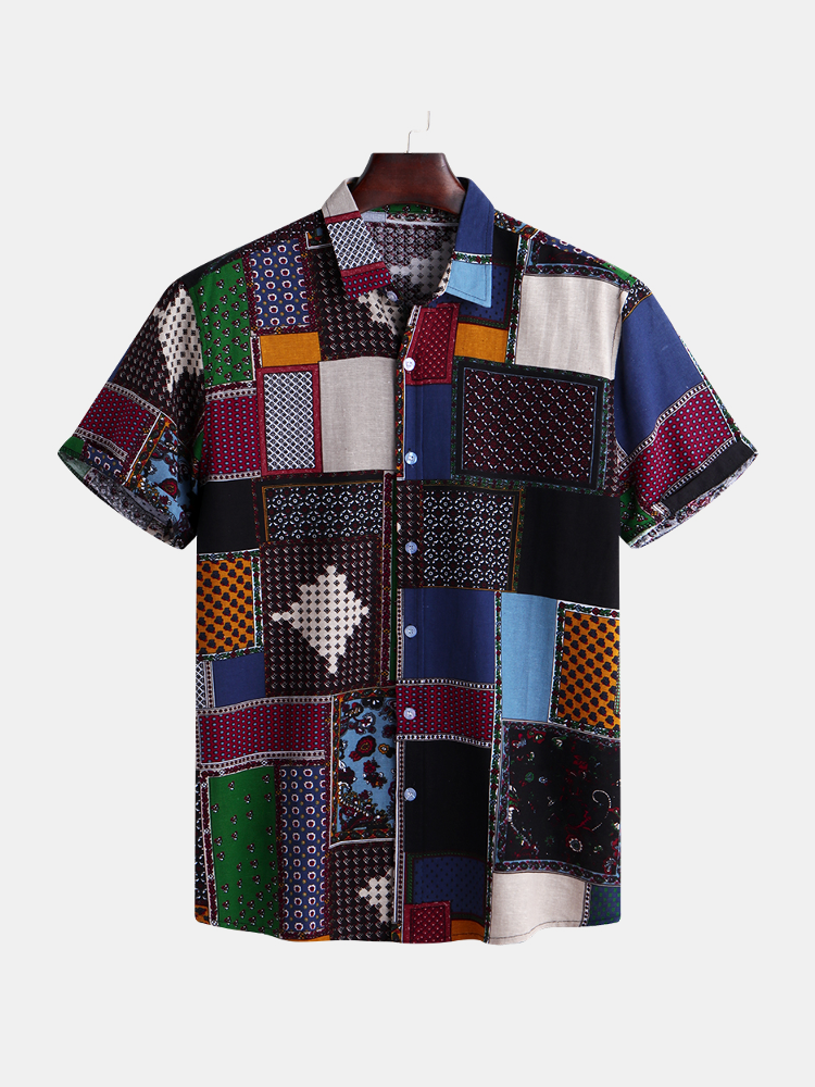Mens Funny Patchwork Printed Summer Short Sleeve Loose Casual Fashion Shirts - 1