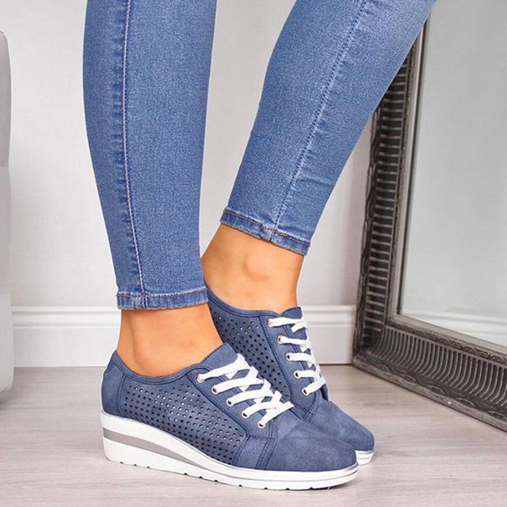 Women Casual Hollow Out Breathable Flats - 4