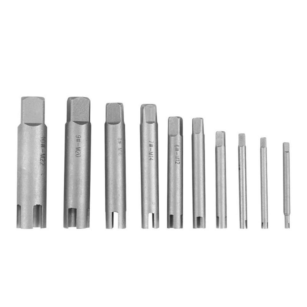 Drillpro 10Pcs Damaged Taps Remover Screw Tap Extractor Set Broken Taps Removal Kit - 5