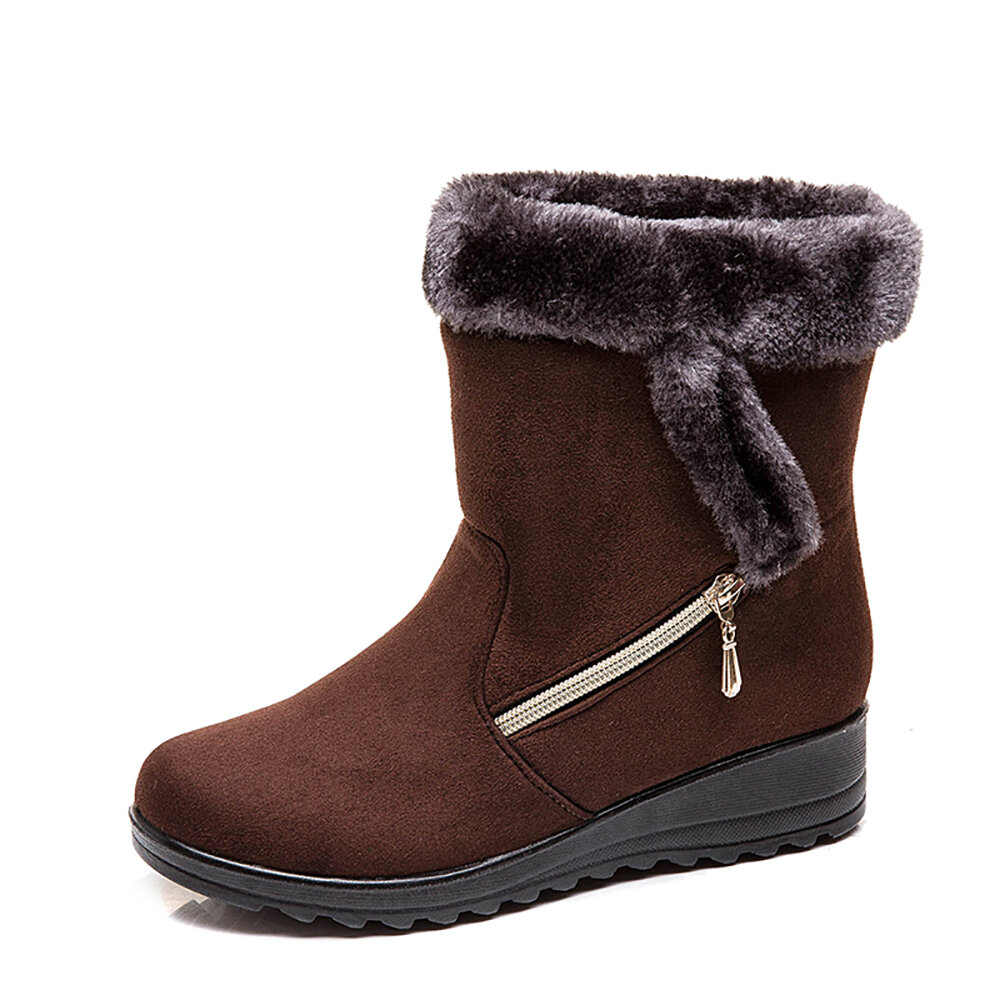 Women Suede Warm Lined Mid Calf Solid Color Wedges Winter Snow Boots