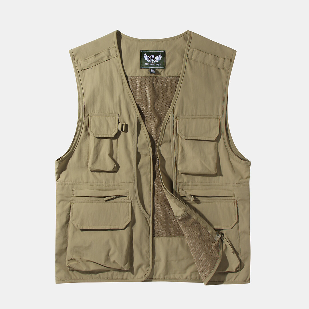 Winter Thick Warm Sleeveless Dad Vest Stand Collar Zipper Pure Color Jacket - 1