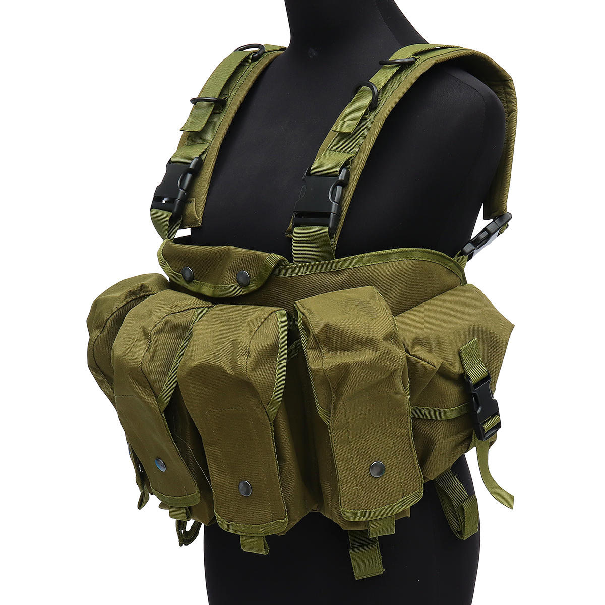 Chaleco táctico unisex al aire libre Combat Game Training Storage Carrier Belly Pocket Vest - 8