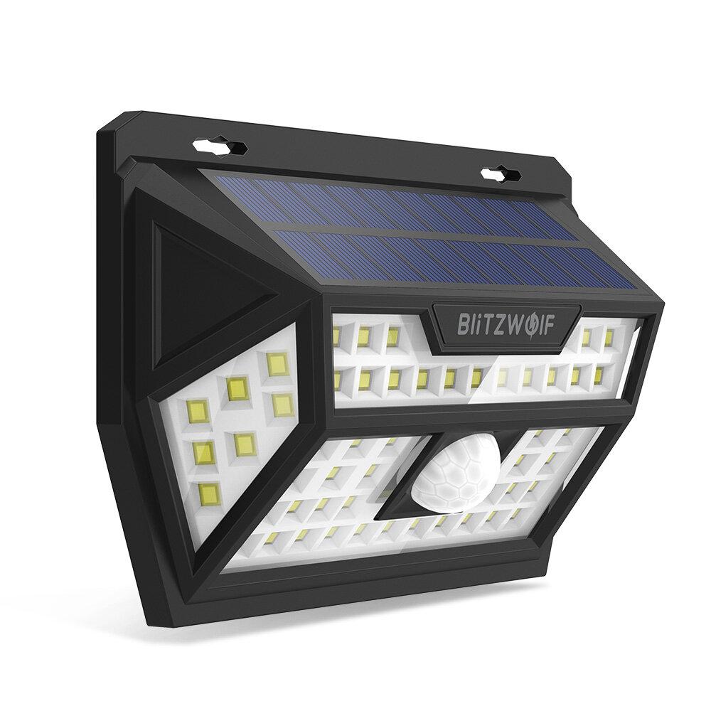 Blitzwolf® BW-OLT1 Solar Power 62 LED PIR Motion Sensor Wall Light Wide Angle Waterproof for Outdoor Garden Path Yard Security Lamp