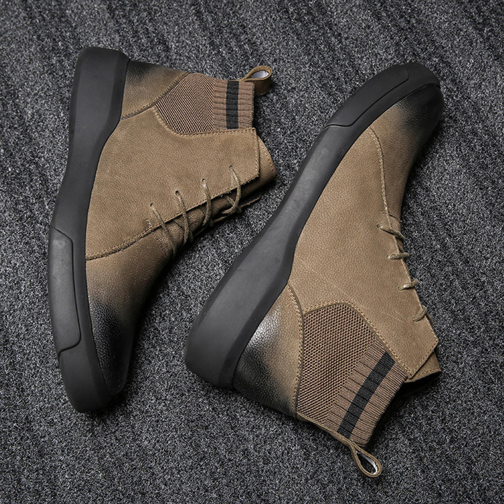 Synthetic Leather Warm Slip Resistant Ankle Boots - 8