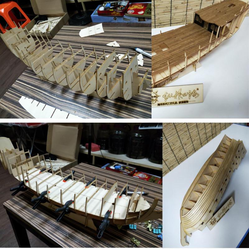 32 inch scheepsassemblage Model DIY Kits Houten zeilboten Decoratie Speelgoed DIY Gift - 8