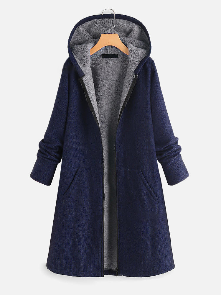 Women Solid Color Casual Cotton Long Cardigans with Pockets - 1