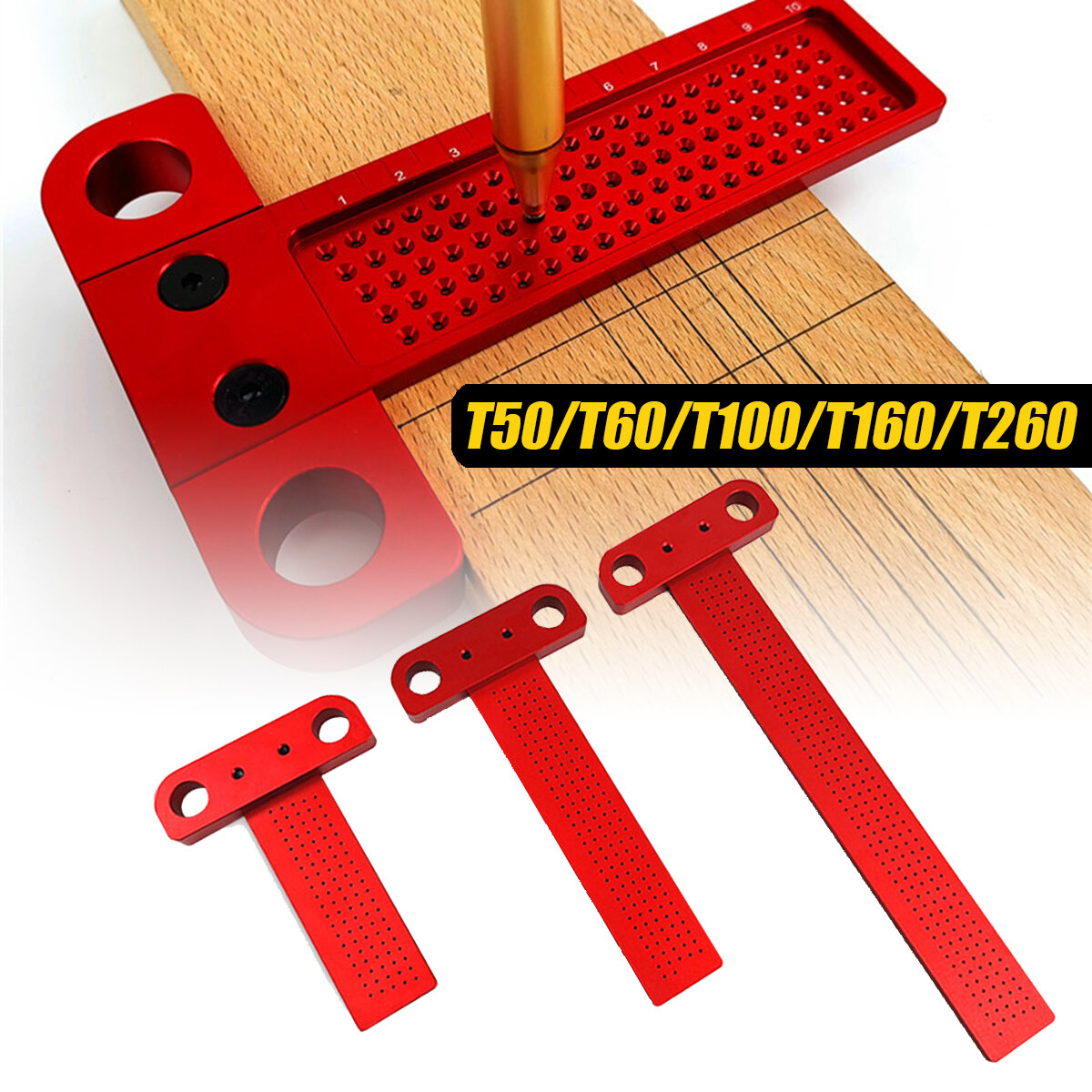 US T-50 Measuring Tool Woodworking T-Type Scribe Mark Measure Ruler Home