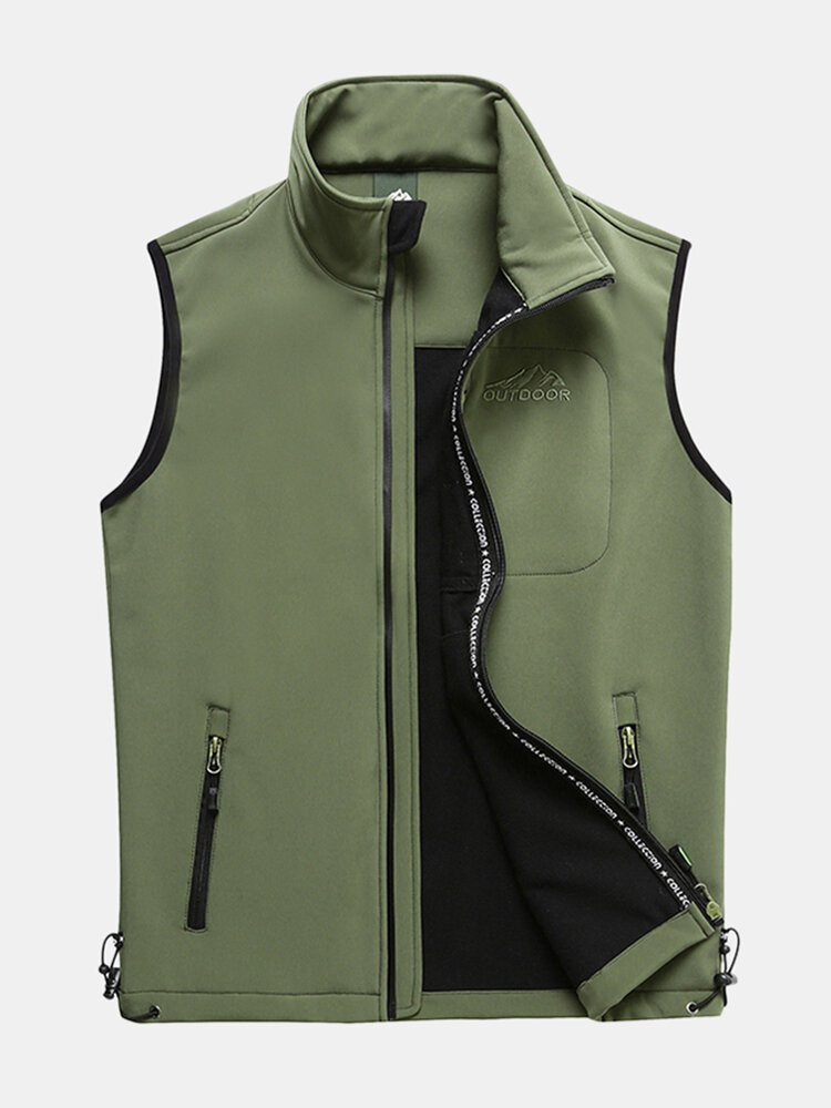 Mens Outdoor Multi Pockets Zipper Single Breasted Vest - 1