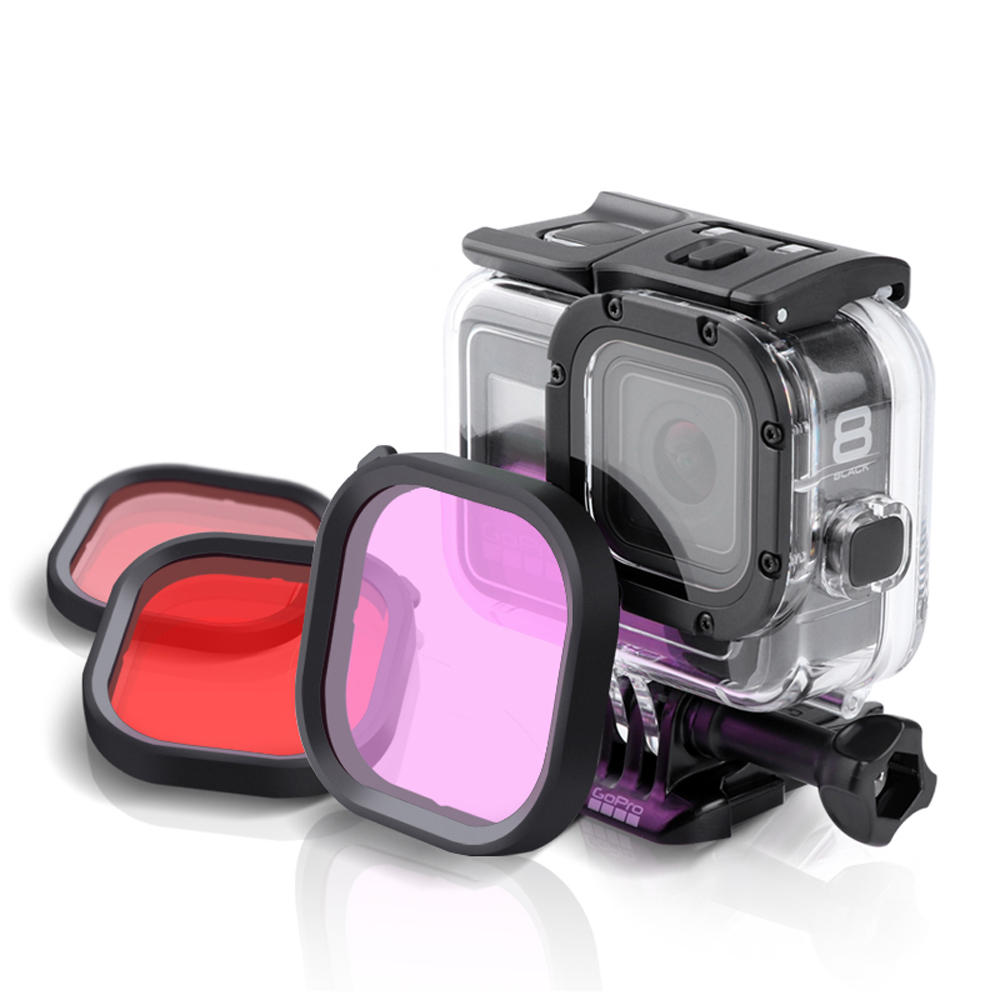 Diving Lens Filter Red / Pink / Purple For GoPro Hero 8 FPV Action Camera Compatible Original Waterproof Case