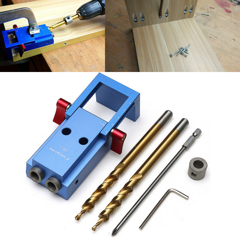 Drillpro 6 In 1 Jointmate Self-centering Dowel Jig V-Groove Corner Round Surface Drilling Straight Hole Guide Center Line Marking Depth Measuring Gauge Woodworking Tool - 3