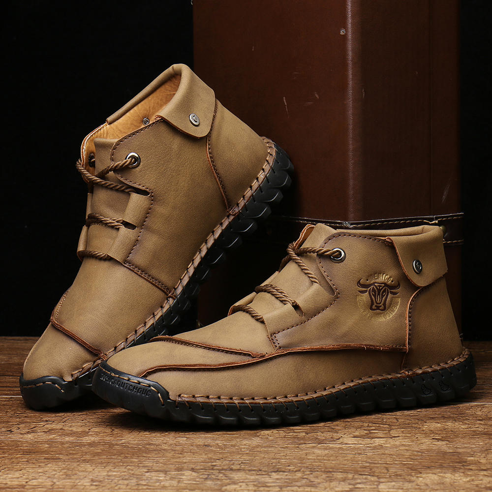 Menico Men Hand Stitching Comfy Slip Resistant Casual Leather Ankle Boots - 10