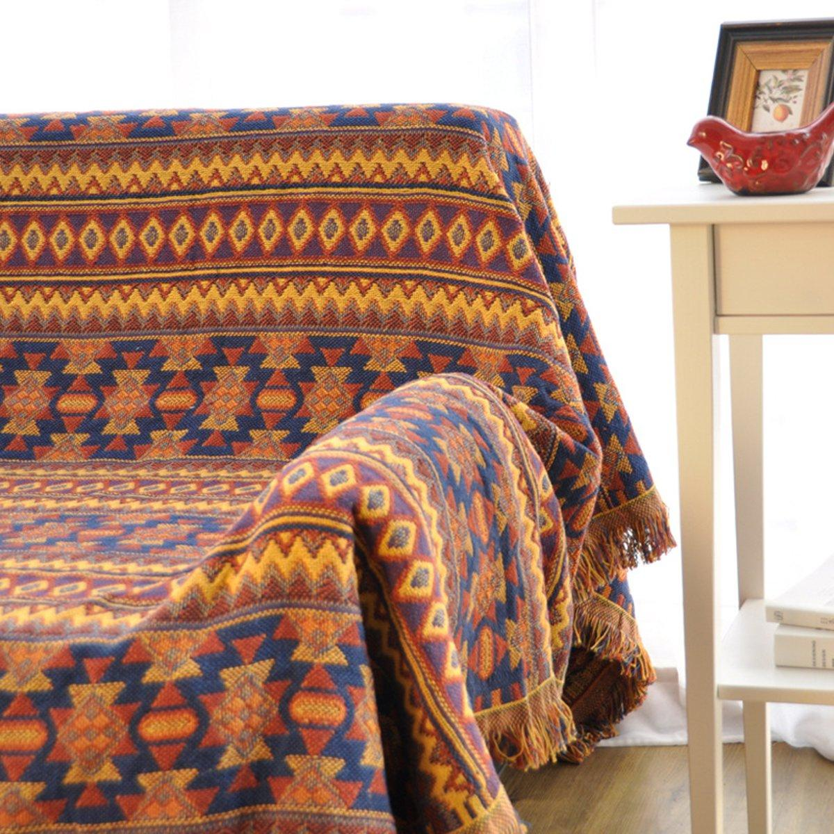 Cotton Knitted Blankets Throw Tribal Bohemian Ethnic Sofa Bedding Home Decor - 4