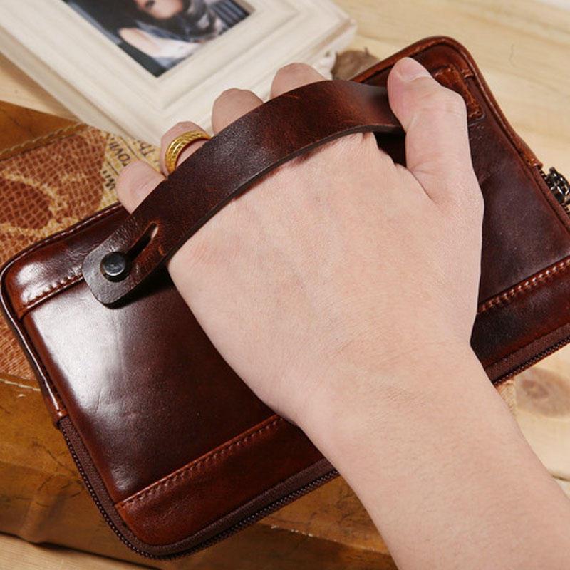 Men Clutch Wallet Waterproof Business Long Zipper Wallet Phone Holder - 7