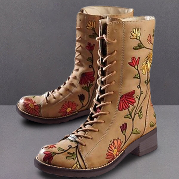 Women Fur Lining Lace Up Winter Casual Snow Ankle Boots - 4