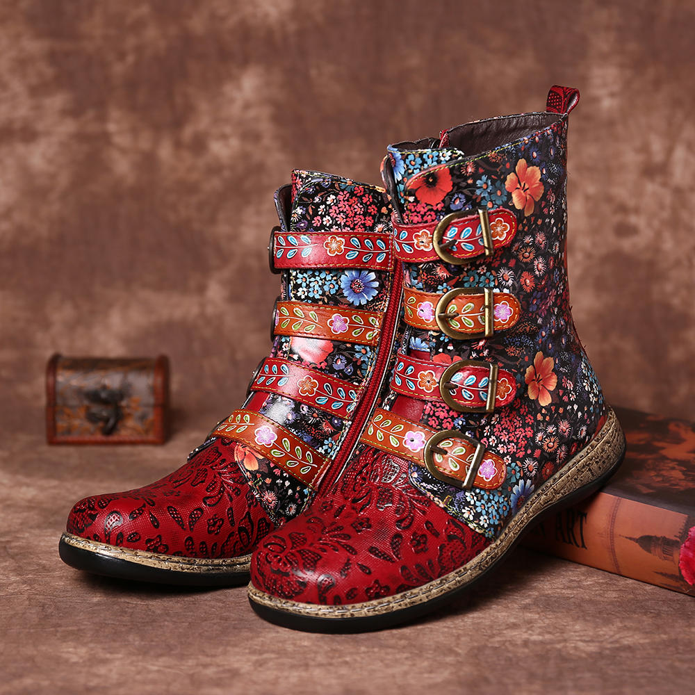 Old Fashion Pure Color Leather Mid-Calf Boots - 2