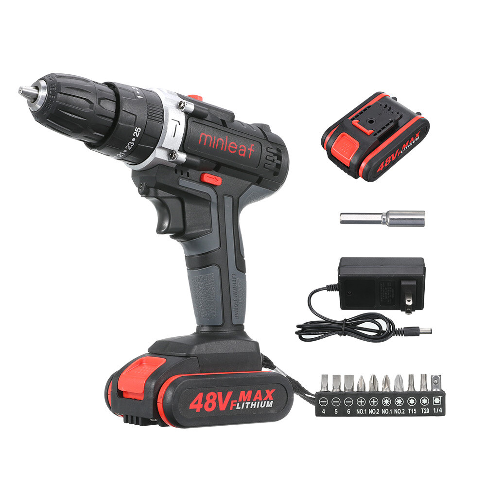 48V Dual Speed Electric Drill Li-ion Battery Power Drills W/ 1 Or 2 Batteries Forward/Reverse Switch - 1