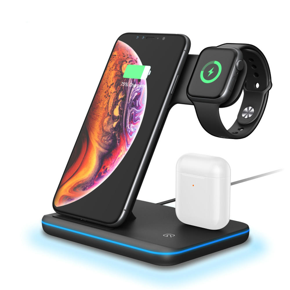 Bakeey 3in1 Breathing Light 15W Qi Fast Charging Wireless Charger Dock for IPhone 11 Watch Xiaomi 9T Mi9 Pro HUAWEI P30Pro Samsung S10+